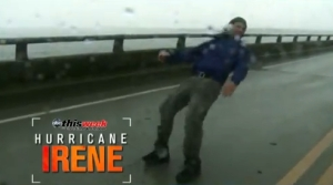 Storm Chasers & News Reporter vs. Eye of Hurricane Irene's Strong Winds 1