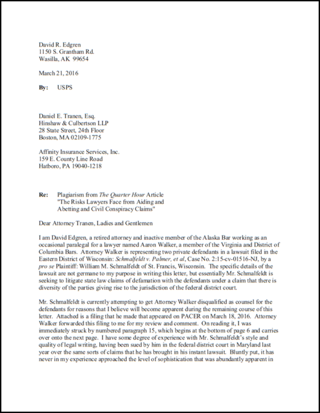 Letter to Tranen and Affinity executed page 1